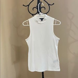 Banana Republic White Stretch Mock-Neck Tank